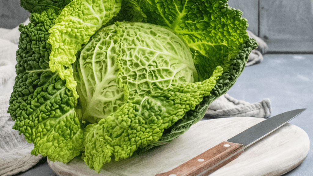 Cabbage on cutting board to eat for weight loss