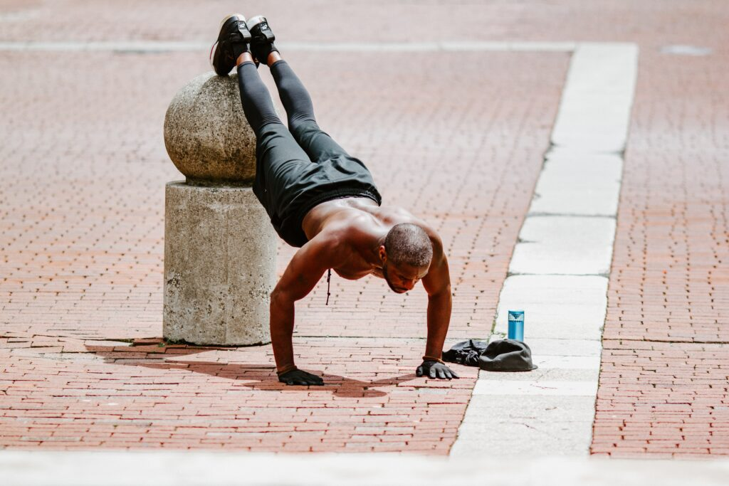 Person burning calories with pushups